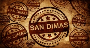 san dimas, vintage stamp on paper background